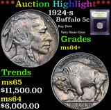 ***Auction Highlight*** 1924-s Buffalo Nickel 5c Graded Choice+ Unc By USCG (fc)