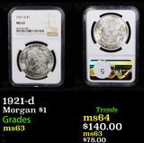 NGC 1921-d Morgan Dollar $1 Graded ms63 By NGC