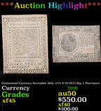 ***Auction Highlight*** Continental Currency November 29th, 1775 $7 Fr-CC17 Sig. I. Purviance Grades
