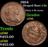 1804 Draped Bust Half Cent 1/2c Grades xf