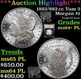 ***Auction Highlight*** 1882/882-cc Vam 5 Morgan Dollar $1 Graded Choice Unc+ PL By USCG (fc)