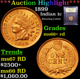 ***Auction Highlight*** 1899 Indian Cent 1c Graded GEM++ RD By USCG (fc)