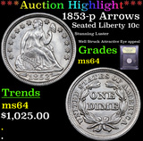 ***Auction Highlight*** 1853-p Arrows Seated Liberty Dime 10c Graded Choice Unc By USCG (fc)