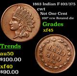 1863 Indian F-103/375 Civil War Token 1c Grades xf+