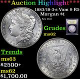 ***Auction Highlight*** 1883/18-3-s Vam 9 R5 Morgan Dollar $1 Graded Select Unc By USCG (fc)