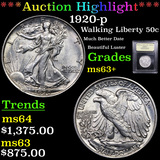 ***Auction Highlight*** 1920-p Walking Liberty Half Dollar 50c Graded Select+ Unc By USCG (fc)