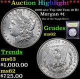 ***Auction Highlight*** 1900-o/cc Top 100 Vam 10 R7 Morgan Dollar $1 Graded Select Unc By USCG (fc)