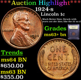 ***Auction Highlight*** 1924-s Lincoln Cent 1c Graded Select+ Unc BN By USCG (fc)