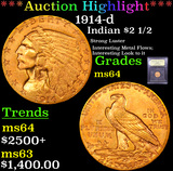 ***Auction Highlight*** 1914-d Gold Indian Quarter Eagle $2 1/2 Graded Choice Unc By USCG (fc)