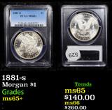 PCGS 1881-s Morgan Dollar $1 Graded ms65+ By PCGS