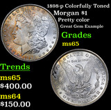 1898-p Colorfully Toned Morgan Dollar $1 Grades GEM Unc