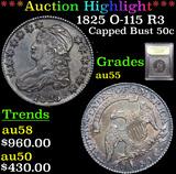 ***Auction Highlight*** 1825 O-115 R3 Capped Bust Half Dollar 50c Graded Choice AU By USCG (fc)