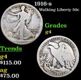 1916-s Walking Liberty Half Dollar 50c Grades g, good