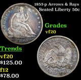 1853-p Arrows & Rays Seated Half Dollar 50c Grades vf, very fine