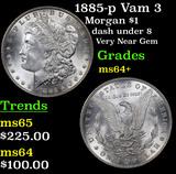 1885-p Vam 3 Morgan Dollar $1 Grades Choice+ Unc