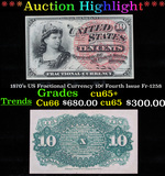 ***Auction Highlight*** 1870's US Fractional Currency 10¢ Fourth Issue Fr-1258 Grades Gem CU+ (fc)