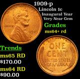1909-p Lincoln Cent 1c Grades Choice+ Unc RD