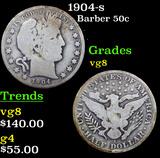 1904-s Barber Half Dollars 50c Grades vg, very good