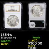 NGC 1884-o Morgan Dollar $1 Graded ms64 By NGC