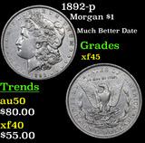 1892-p Morgan Dollar $1 Grades xf+