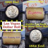 ***Auction Highlight*** Full Morgan/Peace Aladdin Hotel silver $1 roll $20, 1884 & 1900 ends (fc)
