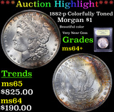***Auction Highlight*** 1882-p Colorfully Toned Morgan Dollar $1 Graded Choice+ Unc By USCG (fc)