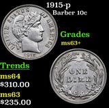 1915-p Barber Dime 10c Grades Select+ Unc