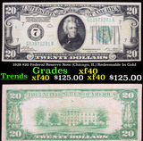 1928 $20 Federal Reserve Note (Chicago, IL) Redeemable In Gold Grades xf