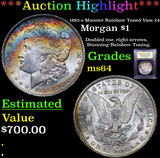 ***Auction Highlight*** 1885-o Monster Rainbow Toned Vam 24 Morgan Dollar $1 Graded Choice Unc By US