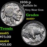 1936-p Buffalo Nickel 5c Grades Choice+ Unc