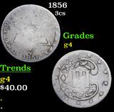 1856 Three Cent Silver 3cs Grades g, good