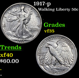 1917-p Walking Liberty Half Dollar 50c Grades vf++