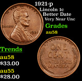 1921-p Lincoln Cent 1c Grades Choice AU/BU Slider