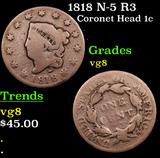 1818 N-5 R3 Coronet Head Large Cent 1c Grades vg, very good