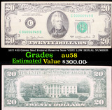 1977 $20 Green Seal Federal Reserve Note VERY LOW SERIAL NUMBER Grades Choice AU/BU Slider