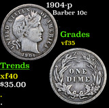 1904-p Barber Dime 10c Grades vf++