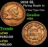 1858 SL Flying Eagle Cent 1c Grades vf++