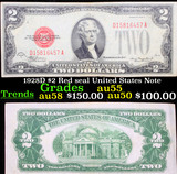 1928D $2 Red seal United States Note Grades Choice AU
