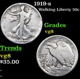 1919-s Walking Liberty Half Dollar 50c Grades vg, very good