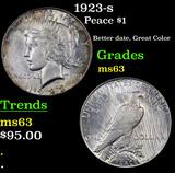 1923-s Peace Dollar $1 Grades Select Unc