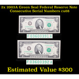 2x 2003A Green Seal Federal Reserve Note Consecutive Serial Numbers Grades Gem++ CU