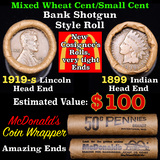 Mixed small cents 1c orig shotgun roll, 1919-s Wheat Cent, 1899 Indian Cent other end, McDonalds Wra