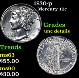 1930-p Mercury Dime 10c Grades Unc Details