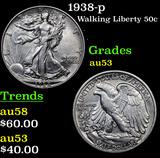 1938-p Walking Liberty Half Dollar 50c Grades Select AU