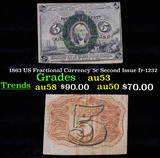 1863 US Fractional Currency 5c Second Issue fr-1232 Grades Select AU