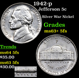 1942-p Jefferson Nickel 5c Grades Select Unc+ 5fs