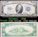 1934 $10 Blue Seal Silver Certificate Signatures Julian/Morgenthau Grades vf++