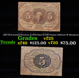 1862 US Fractional Currency 5c First Issue fr-1230 Thomas Jefferson W/ Monigram Grades vf+