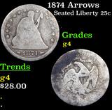 1874 Arrows Seated Liberty Quarter 25c Grades g, good