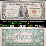 1935A $1 Silver Certificate Hawaii WWII Emergency Currency Grades f, fine